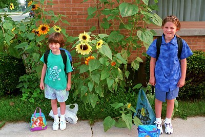 Sarah and Emily with sunflowers in the background on the first day of school -- Aug. 25,1999!