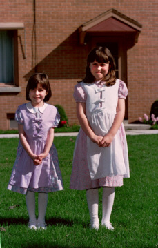 Girls in their home-sewn Easter dresses!