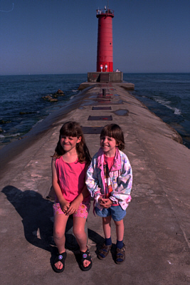Sarah and Emily with lighthouse in the background!