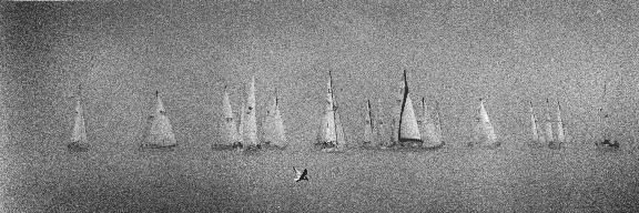 sailboats in the fog on Lake Michigan